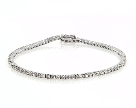 14K White Gold Diamond Tennis Bracelets (2 CTW)