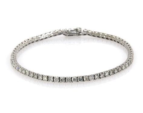 14K White Gold Diamond Tennis Bracelets (4 CTW)