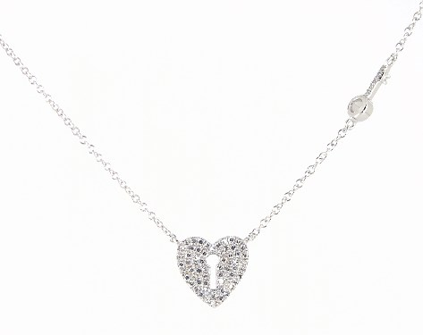 14K White Gold Key To Your Love's Heart Diamond Necklace