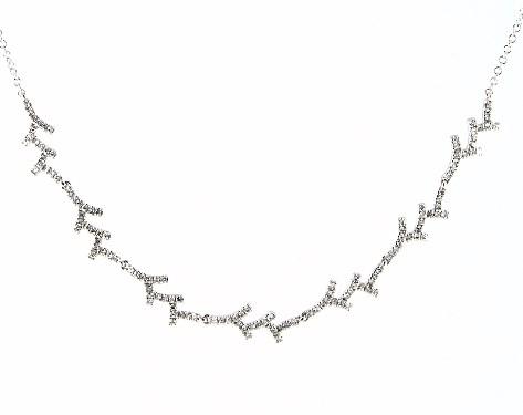 14K White Gold Coral Motif Diamond Necklace