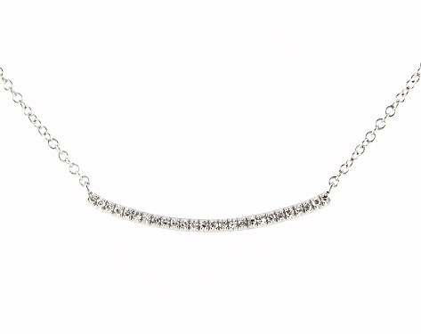 14K White Gold Slightly Curved Diamond Bar Necklace