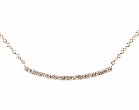 14k Rose Gold Slightly Curved Diamond Bar Necklace