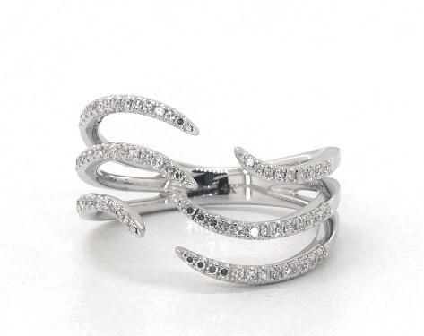 14K White Gold Open Waves Diamond Ring
