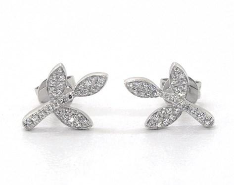 14k White Gold Three Leaves Diamond Earrings