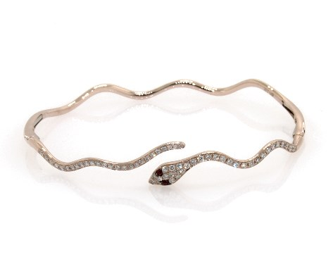 14K Rose Gold Snake Motif Diamond and Ruby Bracelet