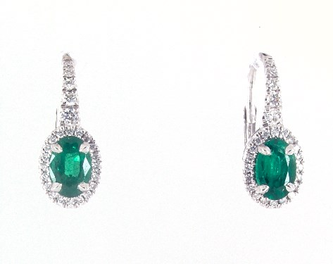 18K White Gold Petite Drop Oval Halo Emerald and Diamond Earrings (6.0x4.0mm)