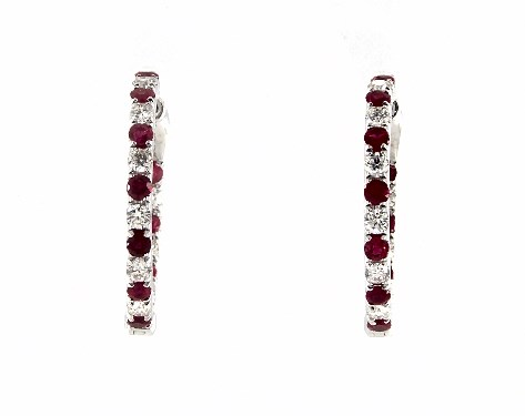 14K White Gold Inside Out Ruby and Diamond Round Hoops, 3/4 Inch Diameter.