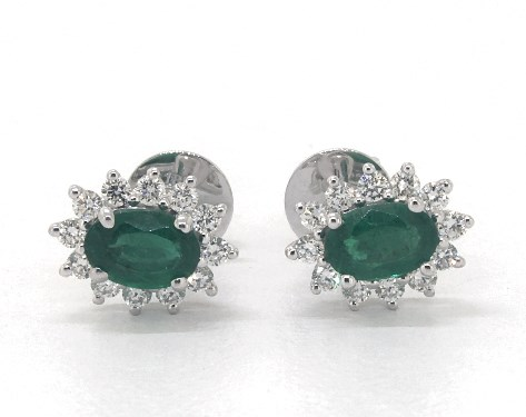 18K White Gold Oval Halo Emerald and Diamond Earrings (6.0x4.0mm)