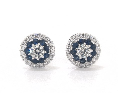 7af3184f628b3 14K White Gold Double Halo Sapphire and Diamond Stud Earrings