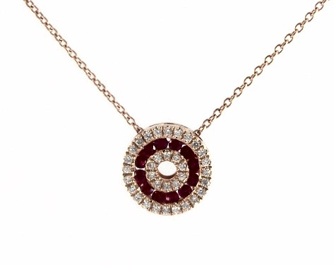 14K Rose Gold Open Circle Ruby and Diamond Necklace