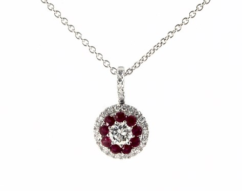 14K White Gold Double Halo Ruby and Diamond Necklace