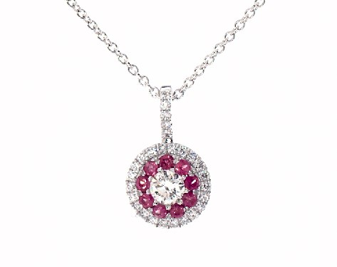 14K White Gold Double Halo Pink Sapphire and Diamond Necklace