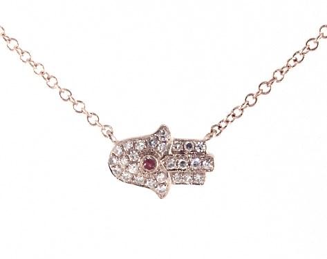 14K Rose Gold Hamsa Ruby and Diamond Necklace