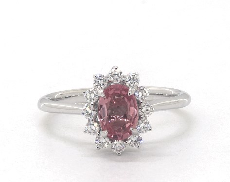 18K White Gold Oval Halo Pink Sapphire and Diamond Ring (7.0x5.0mm)