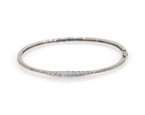 14K White Gold Graduated Diamond Bangle