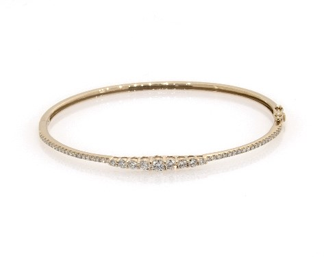 14K Yellow Gold Graduated Diamond Bangle