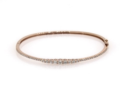 14K Rose Gold Graduated Diamond Bangle