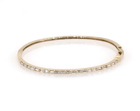 14k Yellow Gold Baguette Diamond Bangle