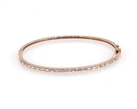 cd417c7b031dd 14K Rose Gold Baguette Diamond Bangle