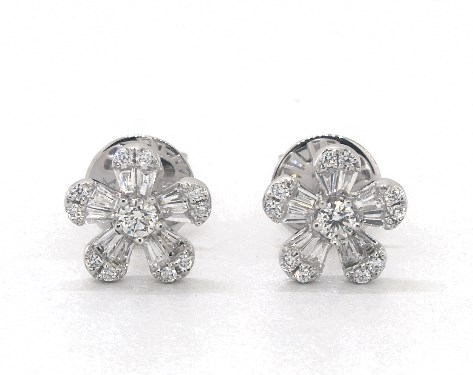 14K White Gold Baguette and Round Diamond Flower Earrings