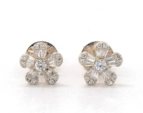 14k Yellow Gold Baguette And Round Diamond Flower Earrings