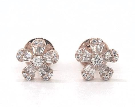 14K Rose Gold Baguette and Round Diamond Flower Earrings