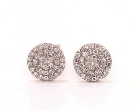 14K Rose Gold Diamond Disc Earrings