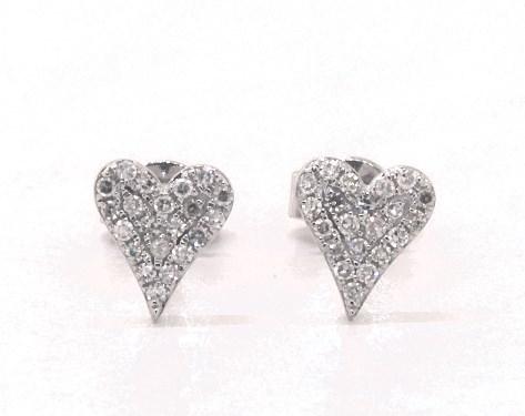 66d634a9493 14K White Gold Diamond Heart Earrings