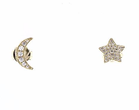 714d1ec03 earrings, diamond earrings, 14k yellow gold star and moon diamond earrings  item 65831