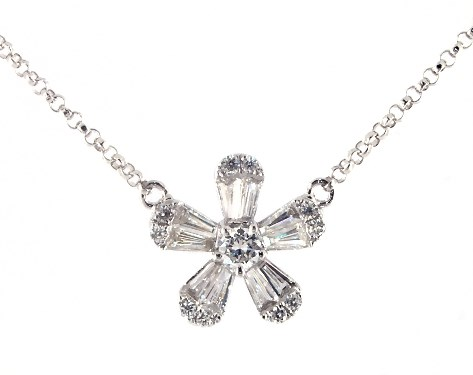 14K White Gold Baguette and Round Diamond Flower Necklace
