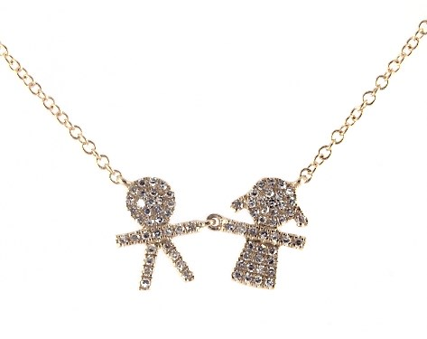 Necklaces Diamond Necklaces 14k Yellow Gold Boy Girl Diamond Necklace Item 65851