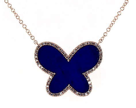 14K Rose Gold Inlay Lapis and Diamond Butterfly Motif Necklace