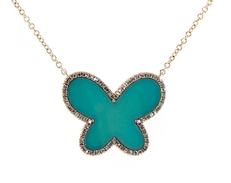 14K Yellow Gold Inlay Turquoise and Diamond Butterfly Motif Necklace