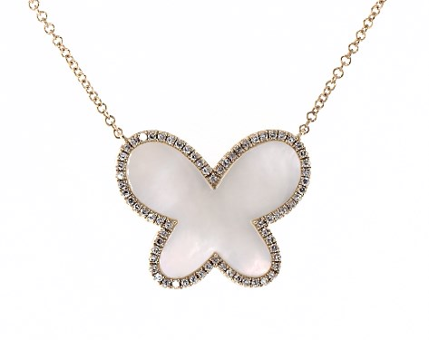 14K Yellow Gold Inlay Mother of Pearl and Diamond Butterfly Motif Necklace