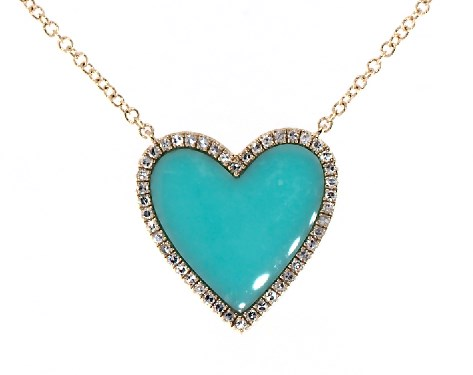 14K Yellow Gold Inlay Turquoise and Diamond Heart Necklace