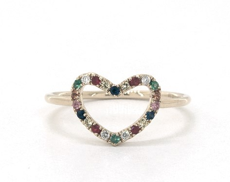 14K Yellow Gold Multi Gemstone Petite Open Heart Ring