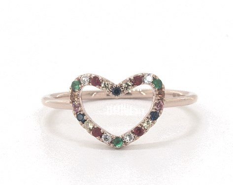 14K Rose Gold Multi Gemstone Petite Open Heart Ring