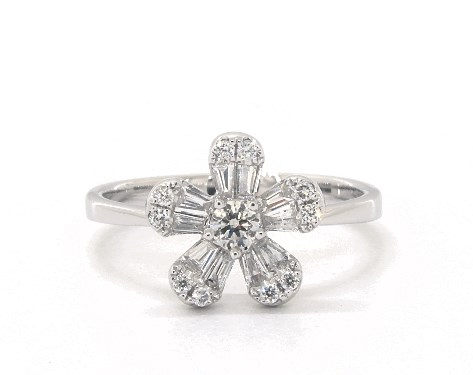 14K White Gold Baguette and Round Diamond Flower Ring
