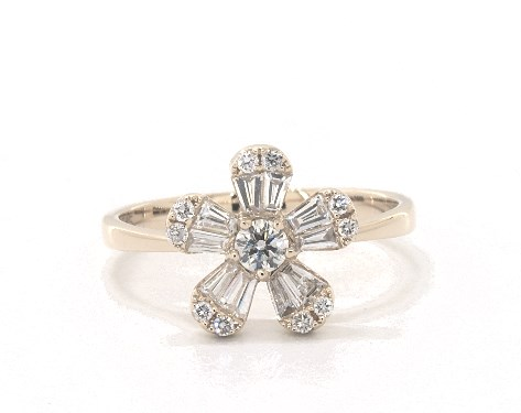 14K Yellow Gold Baguette and Round Diamond Flower Ring