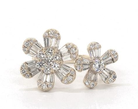 14K Yellow Gold Open Flower Diamond Ring