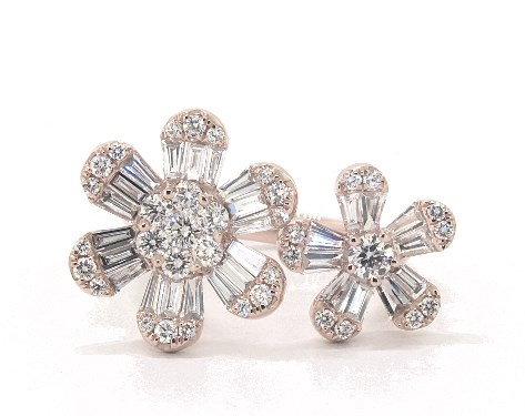 14K Rose Gold Open Flower Diamond Ring