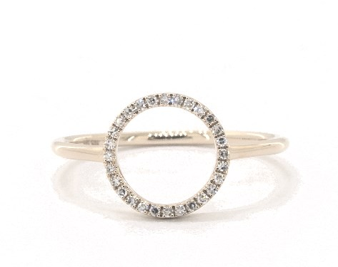 14K Yellow Gold Open Circle Diamond Ring