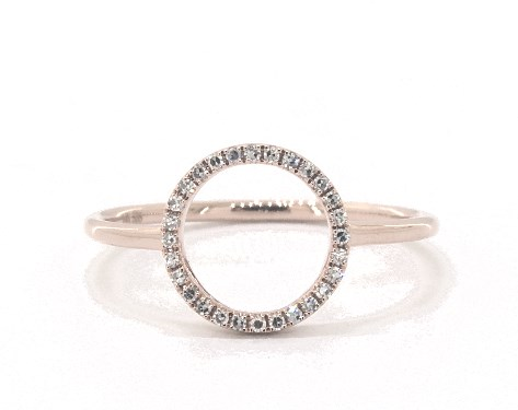 14K Rose Gold Open Circle Diamond Ring