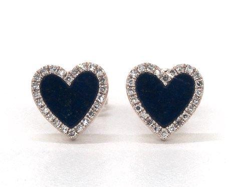 14K Rose Gold Inlay Lapis and Diamond Heart Earrings