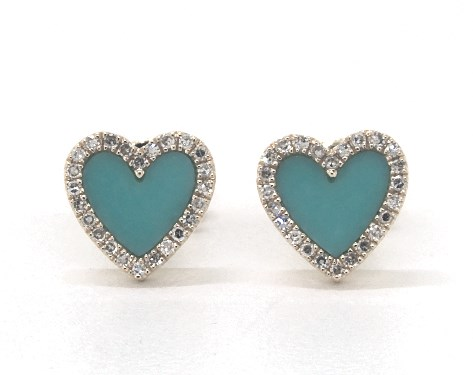14K Yellow Gold Inlay Turquoise and Diamond Heart Earrings