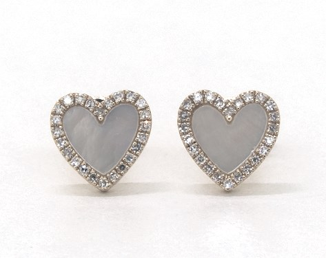14K Yellow Gold Inlay Mother of Pearl and Diamond Heart Earrings