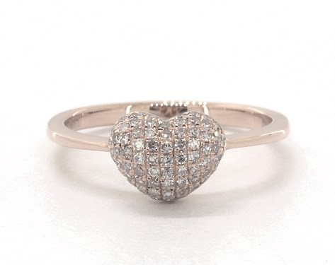 14K Rose Gold Pave Diamond Heart Ring