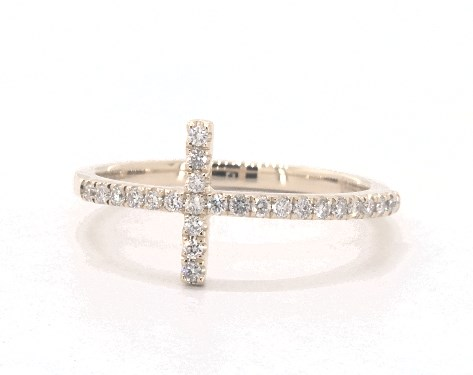 14K Yellow Gold Horizontal Cross Diamond Ring