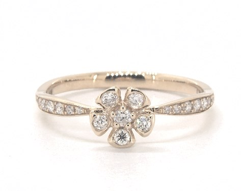 14K Yellow Gold Geometric Flower Diamond Ring
