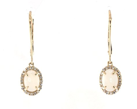 14K Yellow Gold Opal and Diamond Halo Drop Earrings